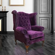 purple chesterfield queen anne wing chair designersofas4u