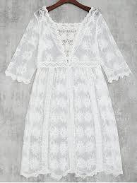 crochet lace beach cover up dress white beach dresses one size