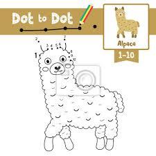 Dot to dot jeu pédagogique et livre de coloriage danimaux dalpaga