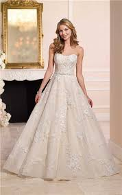 gown strapless champagne satin ivory lace wedding dress crystals belt
