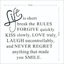 creative decoration quote life is short letters removable wall