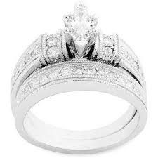 what are bridal set rings 1 carat diamond marquise bridal set in 10kt white gold walmart