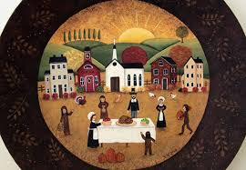 thanksgiving folk painted wood plate pilgrims