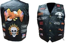 leather biker vest hand sewn genuine buffalo leather biker vest with 23 patches