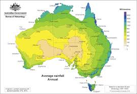 map of aus australia average annual precipitation climate map with color
