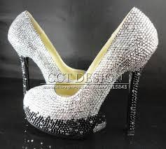wedding shoes chagne gradual color change silver grey and black rhinestone ultra high