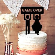 Funny Wedding Cake Toppers Wedding Cake Topper Silhouette Groom And Bride Game Over Funny