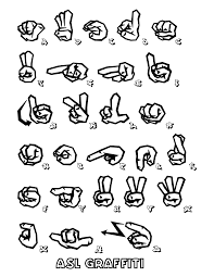 file asl sign language graffiti coloring coloring pages
