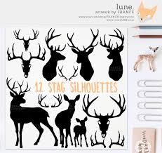 get 3 for 2 stag silhouette deer christmas clip art antlers