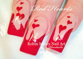 long red nails with hearts valentine u0027s day nail art design