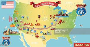 map us highway route 66 route 66 stock illustrations and getty images