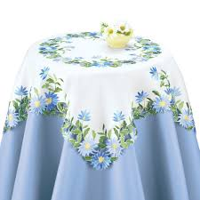 embroidered blue daisies table linens white by collections etc ebay