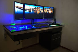furniture contemporary glass wooden gaming station computer desk