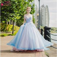 wedding dresses online shopping sky blue wedding dress shoulder flower bridal wedding