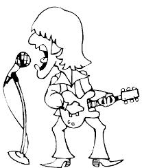 guitar player coloring pages singing rocker guitar player