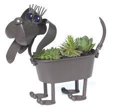 amazon com mini weiner dog metal planter patio lawn u0026 garden