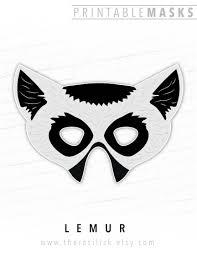 printable animal mask halloween mask lemur mask paper mask