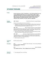 Examples Of Resume For College Students by Student Resume College Student Resume For Internship Template