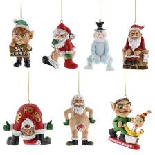 Naughty Decorations Pack Of 7 Naughty Christmas Tree Decorations