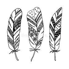 set of ornamental feathers line zentangle