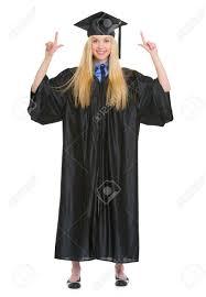 graduation gown length portrait of happy woman in graduation gown stock