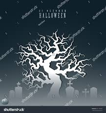 halloween dead tree tombstone graveyard black stock vector