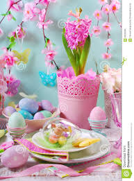 Easter Table Flower Decorations by Easter Table Decoration With Eggs And Flowers In Pastel Colors