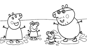 peppa pig muddy puddles jumping coloring book video pages youtube