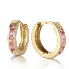 huggie earring 14k solid gold hoop huggie earring with pink sapphires