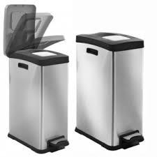 poubelle de cuisine a pedale poubelle à pédale rectangulaire inox mat evolution 30 litres