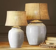 White Table Lamp Courtney Ceramic Table Lamp Base Ivory Pottery Barn
