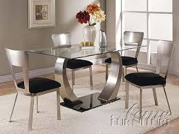 glass breakfast table set acme furniture 8mm clear glass dining table 5 piece 10090 set with
