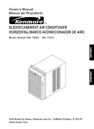 kenmore air conditioner 580 75063 user guide manualsonline com