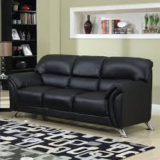 Commando Black Sofa Global Furniture Usa 9103 Pvc Faux Leather Sofa In Black Chrome