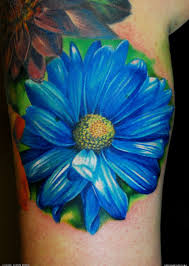 blue daisy flower tattoo design photos pictures and sketches