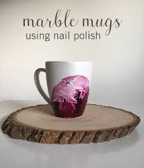 dollar store hack marble mugs using nail polish babble