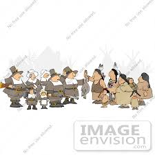 pilgrims and americans at thanksgiving clipart 13080 by