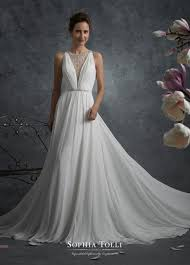 sleeveless wedding dress chiffon sleeveless wedding dress with illusion back tolli