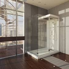 Corner Shower Stalls For Small Bathrooms Corner Glazed Shower Areas With White Steel Rain Head Shower On