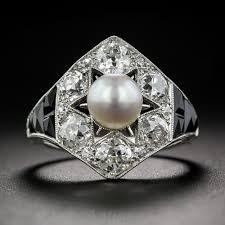 marcus u0026 co natural pearl black onyx u0026 diamond art deco ring