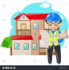 engineer holding blueprints house stock vector 506504293