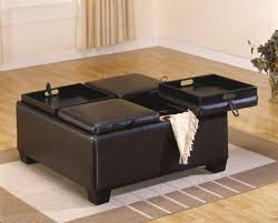 Square Tufted Ottoman Coffee Tables Small Brown Storage Ottoman Square Leather