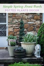 simple spring front porch potted plants celebrating everyday