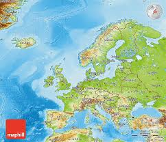 europe map in physical map of europe