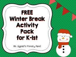 christmas winter break homework pack for kindergarten or 1st