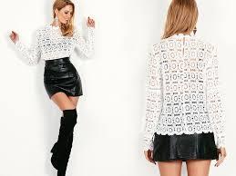 beavant hollow out floral lace blouse shirt women elegant long
