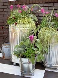 Potted Plant Ideas For Patio by Create A Mobile Container Garden Gardens Hgtv And Galvanized Metal