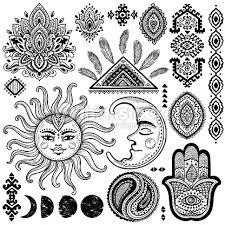 sun moon and ornaments vintage vector set vector thinkstock