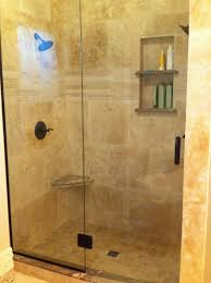 master bathroom ideas travertine tile on walls with dual shampoo