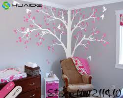 stickers arbre chambre b blanc arbre stickers muraux grand arbre avec oiseaux stickers muraux
